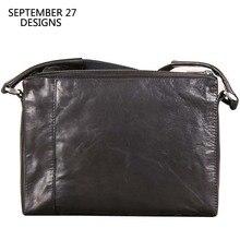 Messenger Bag Men Genuine Leather Mens Handbags Sheepskin Leather Flap Small Cro