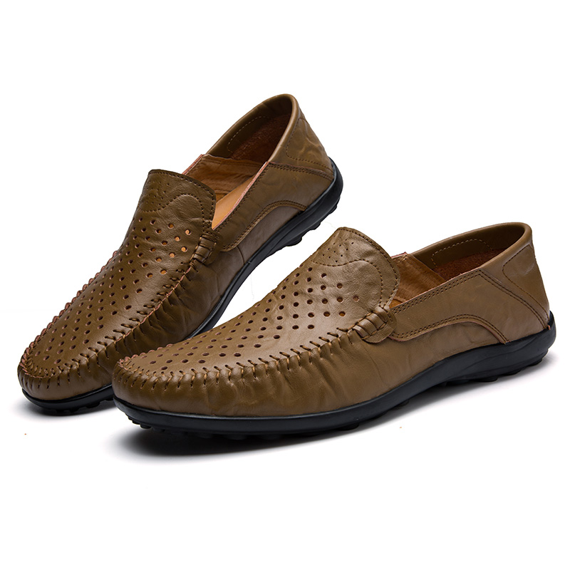 Men Flats Driving Shoes Breathable Light Summer Cool Men Slip On Loafers Punch Men Casual Shoes Genuine Leather Mocassins Homens fashion nature leather men casual shoes light breathable flats shoes slip on walking driving loafers zapatos hombre
