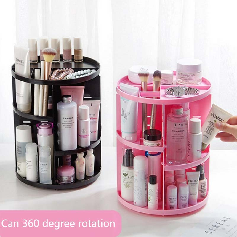 New Fashion 360-degree Rotating Makeup Organizer Brush Holder Jewelry Organizer Case Jewelry Makeup Cosmetic Storage Box Shelf(China)