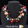 Fashion Maxi Statement Choker Necklace Bohemia High Quality Synthetic Pearl Jewelry Colorful Beads Strand Women Collier MGC N390