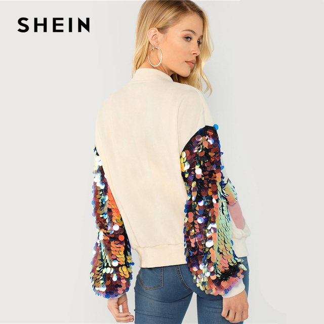 SHEIN White Highstreet Elegant Contrast Sequin Sleeve Pocket Front Zipper Up Jacket Autumn Casual Fashion Women Coat Outerwear 4