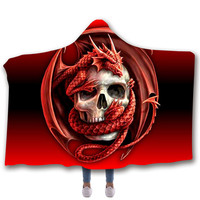 Floral Skull Tattoo Printed Plush Hooded Blanket Lightweight Travel Easy Carry Outdoor Wearable Blankets for Home Adult Children