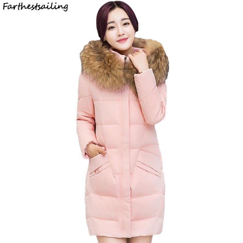 Big fur Winter Jacket Women 2018 New Female Coat Feminina Long Down Jacket Plus Size Long Hooded Women down cotton ladies parka