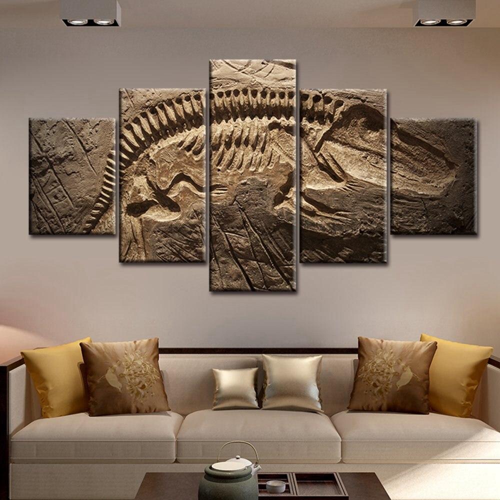 Gambar wall art living room decor fosil dinosaurus besar abstrak lukisan untuk rumah dekorasi giclee karya seni dicetak grosir di painting calligraphy