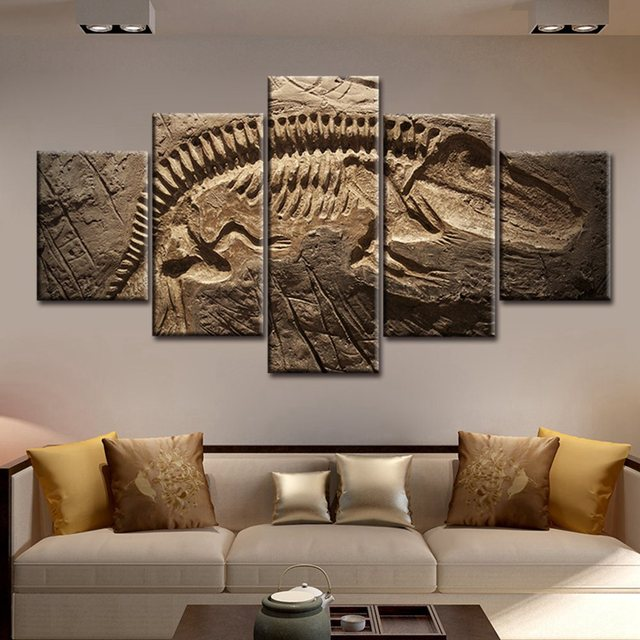Artwork For Living Room Walls Paint Ideas With Black Sofa Large Picture Wall Art Decor Dinosaur Fossil Abstract Painting Home Decorative Giclee Printed Wholesale