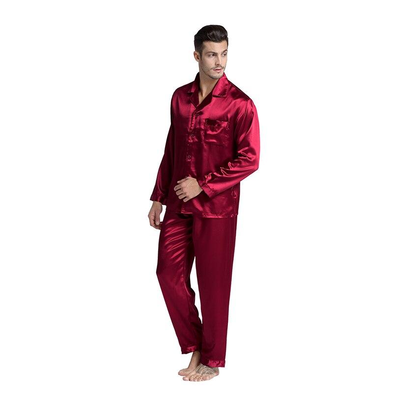 Tony&Candice Hot Sale Couple Silk   Pajamas     Set   Men Stain Nightgown Lovers Sleepwear Slim Loungewear For Ladies Classic Style
