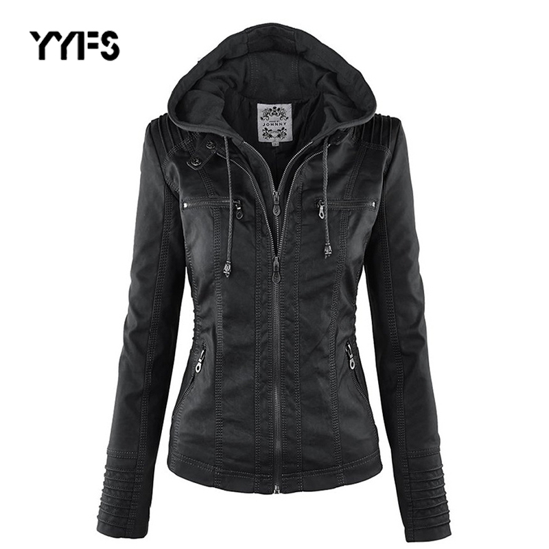 YYFS   leather   Jacket Women hoodies Motorcycle Jacket Gothic faux Black Outerwear faux PU Jacket 2019 Winter Autumn Coat ramoneska