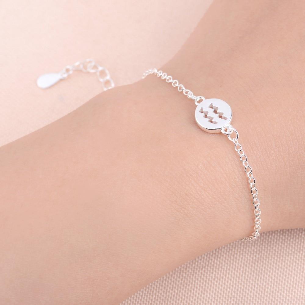 Shuangshuo Boho Fashion Perhiasan Wanita Gelang Tanda 12 Zodiak Puff Bedak Pl Isi 2pcs Konstelasi Aquarius Rantai Link Charm Untuk Sl062