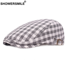 SHOWERSMILE Grey Berets Men Plaid Adujustable Cotton Ivy Duckbill Hat Women Classic Tartan Summer Autumn Flat Cap New Fashion
