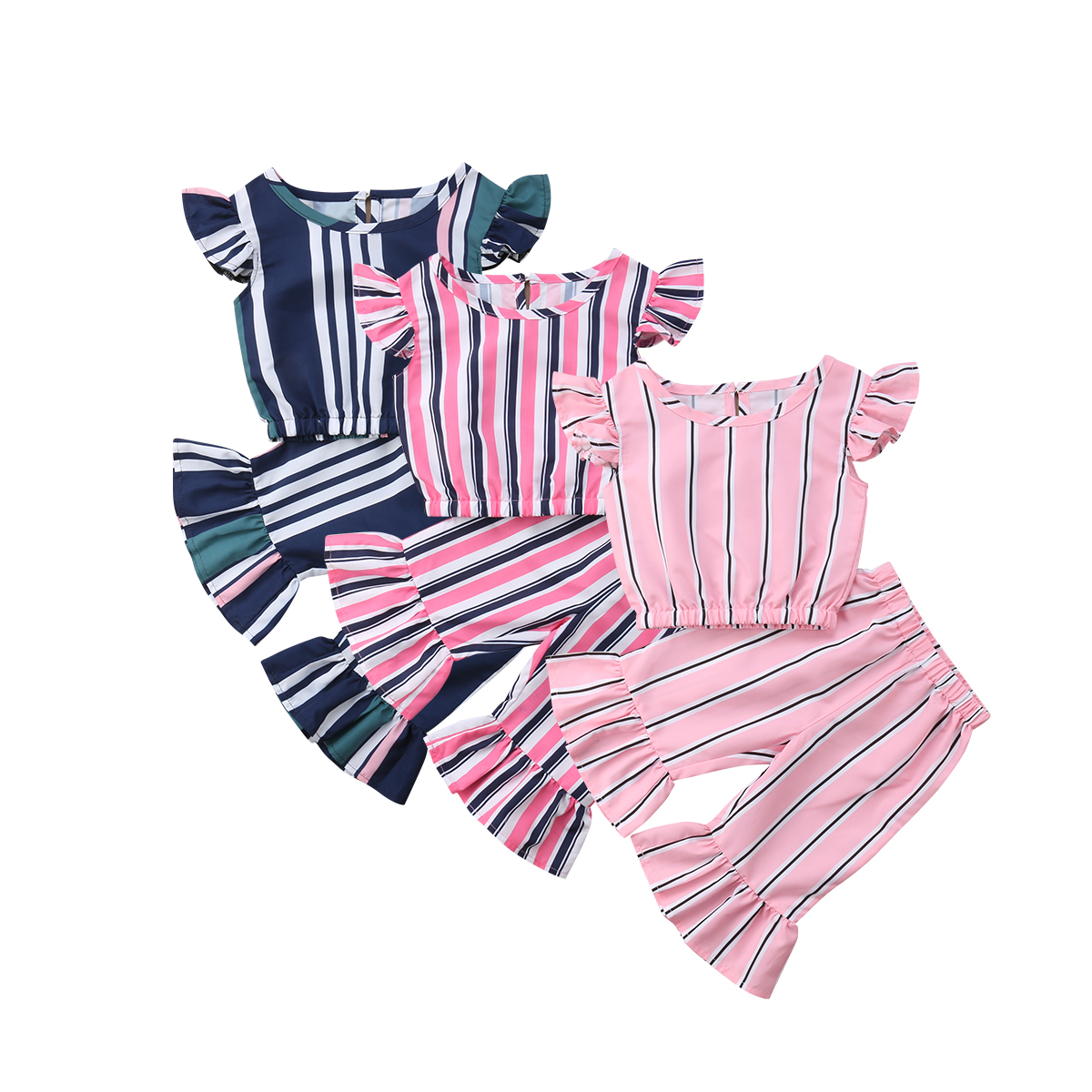 Emmababy Cute Kids Baby Girls Striped Crop Tops T shirt ...