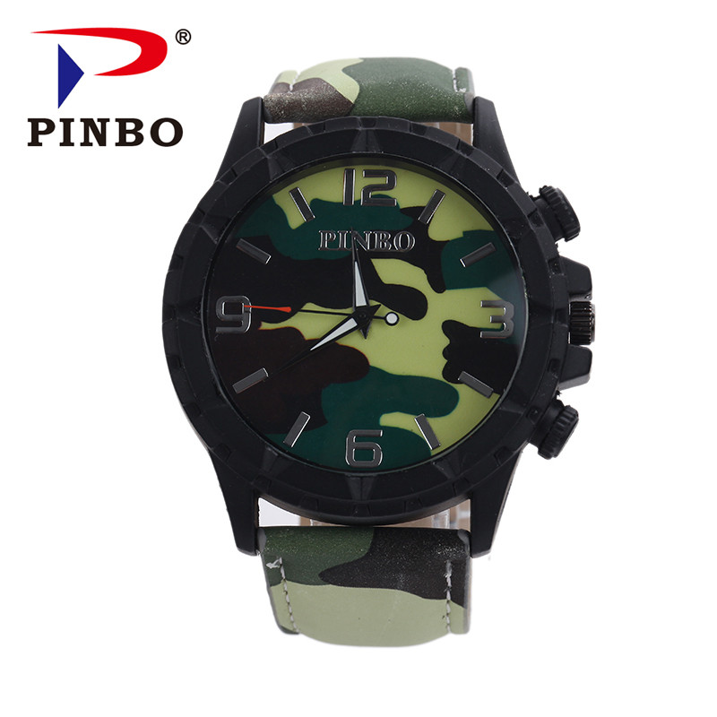 2016 New PINBO Brand Casual Quartz Watch Men Army Camouflage Soldier Leather Strap Sports Military Watches Relogio Masculino Hot new famous brand men casual quartz watch army soldier canvas strap military watches sports men wristwatches relogio masculino