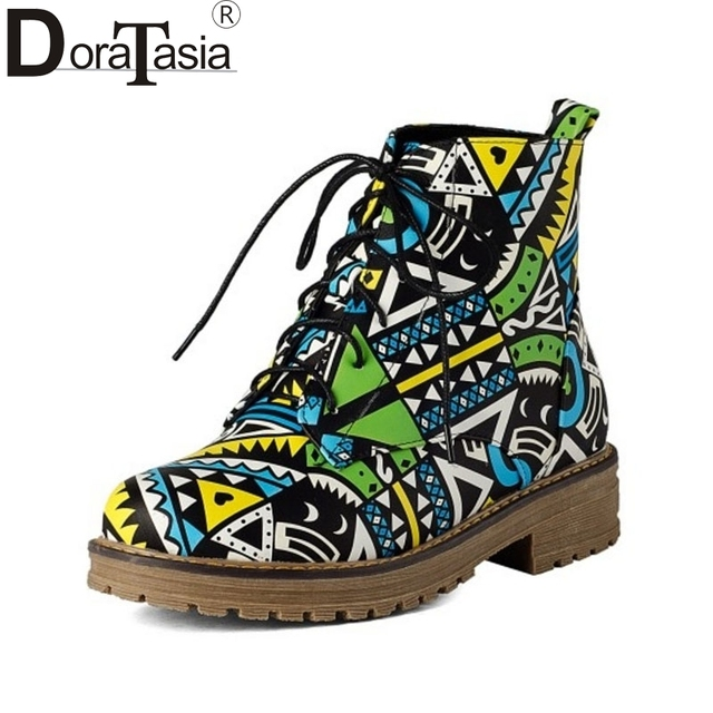 DoraTasia Mixed Colors Women Ankle Boots square Low Heels Lace Up Shoes Women Autumn Winter Short Boots Big Size 33-43