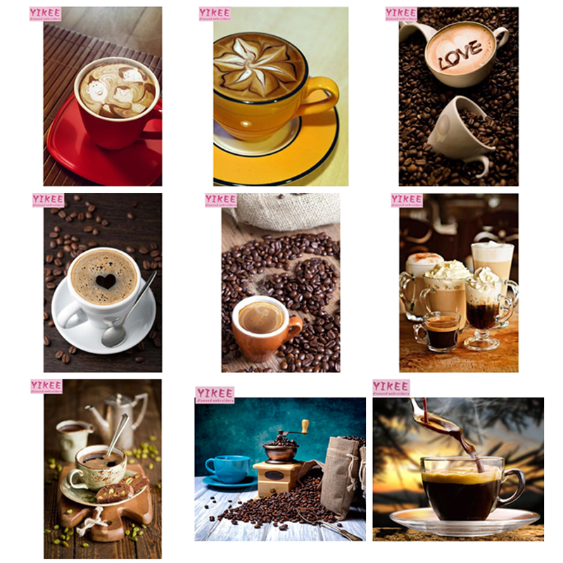 Diamond Painting Love Pink Coffee Cup Design Embroidery Full Round Drill Display