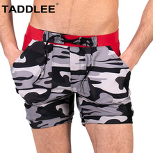 Taddlee Brand Swimwear Men Swimsuits Sexy Camo Swim Boxer Trunks Pockets Short