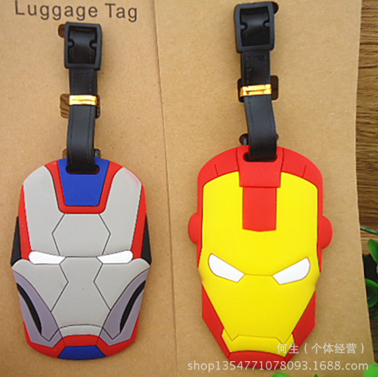 Plastic toys Luggage Ironman Mask Tag Travel Luggage Suitcase Baggage Travel Tag Action Toy Lovely Label Name ID 329