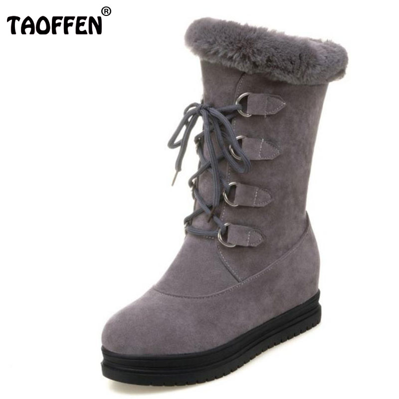 TAOFFEN Size 34-43 Women Warm Fur Inside Mid Calf Snow Boots Female Cross Tied Thick Platform Warm Botas Cold Winter Footwear taoffen size 30 52 russia women round toe height increasing mid calf boots woman cross strap warm fur winter half shoes footwear