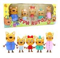 2019 5 pièces russe trois heureux chats chatons Figurines d'action poupée russe chat animaux Figurines enfant noël jouet Opp sac