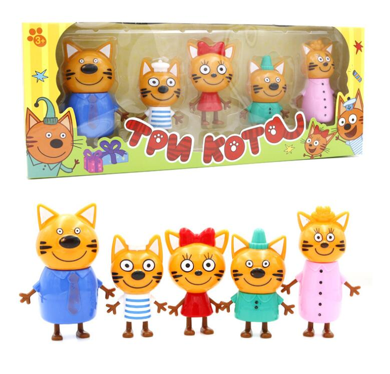2019 5pcs Russian Three Happy Cats Kittens Action Figures Doll Russian Cat Animals Figurines Kid Children Christmas Toy Opp Bag