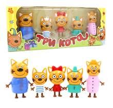 2019 5 pçs russo três gatos felizes gatinhos figuras de ação boneca gato russo animais estatuetas crianças do miúdo brinquedo natal saco opp