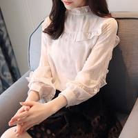 2018 New All Match Women Chiffon Blouse Ruffled Butterfly Sleeved Lace White Shirts Fashion Cute Tops