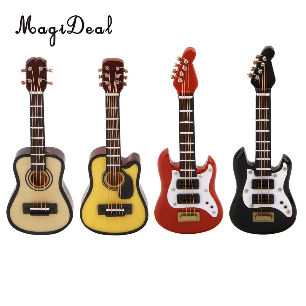 MagiDeal 4Colors 1:12 Dollhouse Miniature Music Instrument Electric Guitar For Kids Learning Educational Musical Toy House Decor