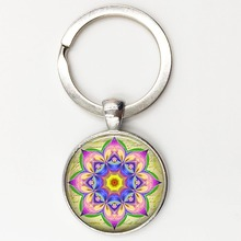 Mandala Key chain Sacred geometry Keychain jewelry handmade art glass pendant Keyring Keys ring for Women New 2015 Gifts