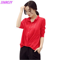 Summer chiffon shirt blouse women 2018 Spring long sleeve blouse top Plus size short shirt short sleeve blouse female tops H444