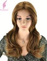 Yiyaobess 20 pouces Résistant À La Chaleur Synthétique Brun Clair Cheveux Styles ROYAUME-UNI Puffy Layered Long Ondulés Perruque Pour Les Femmes