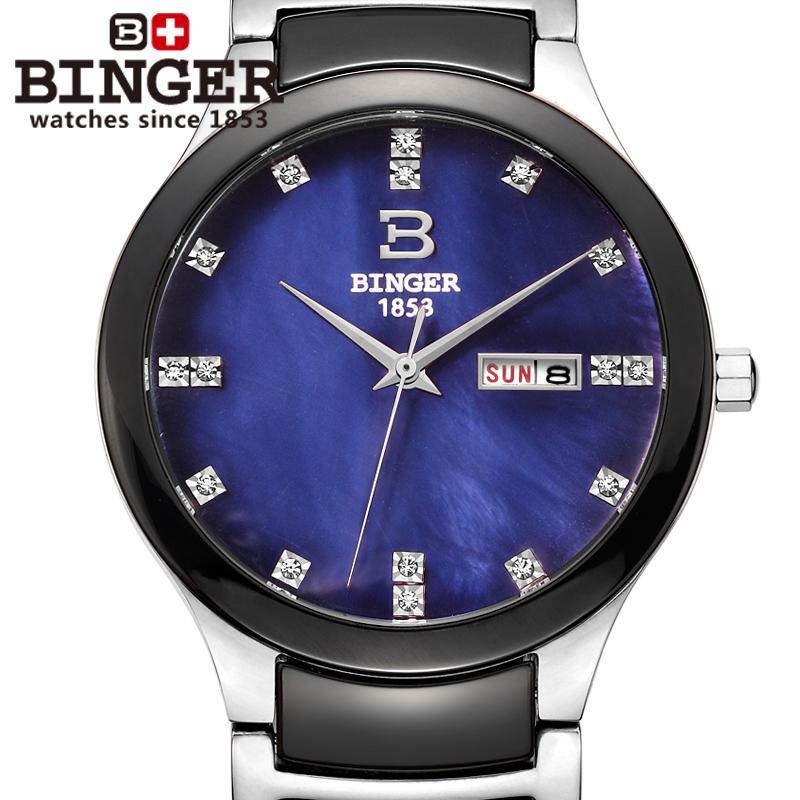 Switzerland Binger Space ceramic men' watch fashion quartz clock rhinestone Lovers watches 100M Water Resistance -8007-6