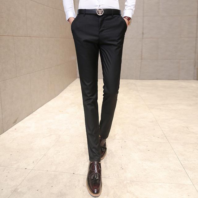 Men's clothing suit trousers /Male high-grade pure color slim Fit business Suit pants/Male high-end leisure thin leg pants