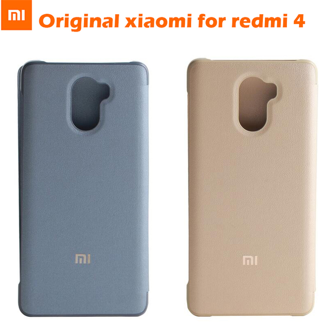 huge selection of f9fb6 55a4a US $4.99 20% OFF|100% Original Xiaomi Redmi 4 PRO case Smart wake up Flip  Case Leather Cover For Xiaomi mi Redmi 4 prime mobile phone 5.0