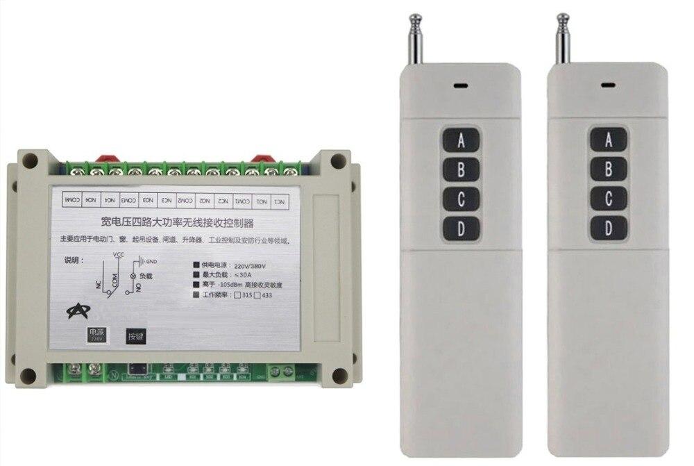 AC220V 380 V 4CH 30A relais RF système de contrôle à distance sans fil/moteur et porte électrique code d'apprentissage 2 * émetteur maison intelligente
