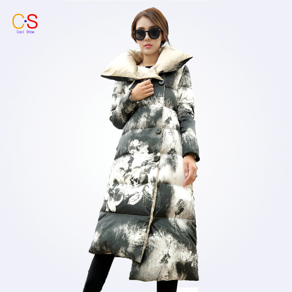 ФОТО Floral Print Women Fashion Long Coats  Pillow Collar Ladies Jackets Single Breasted Winter Quilted Parkas Female Outerwears