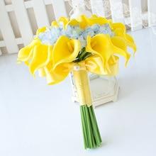 Artificial Silk Wedding Flowers Bridal Bouquet Simulation Rose Calla Bridesmaid  Holding Ribbon