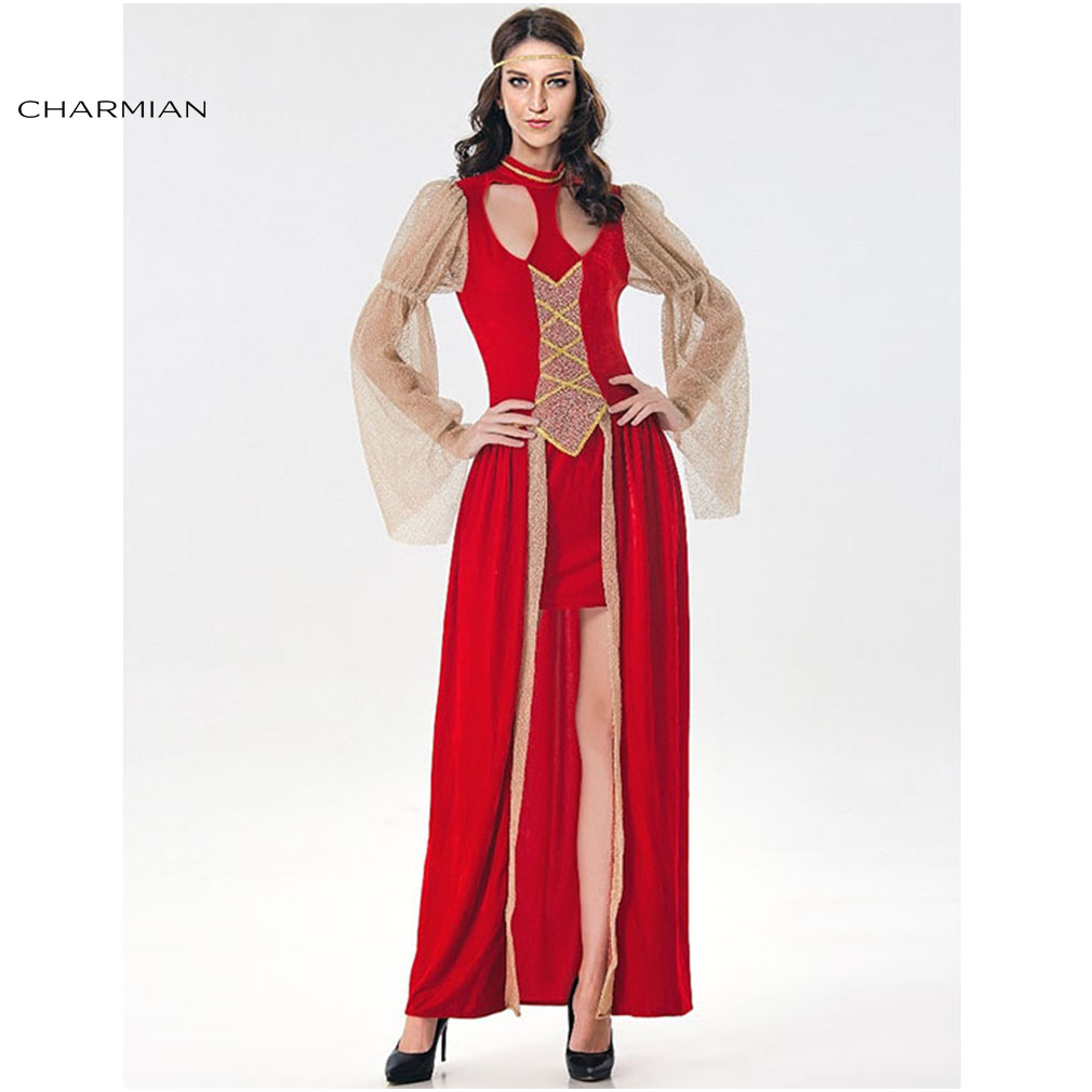 Charmian Classy Renaissance Beauty Halloween Costume for Women Adult Sexy Medieval Costume Masquerade Costume Carnival Clothing