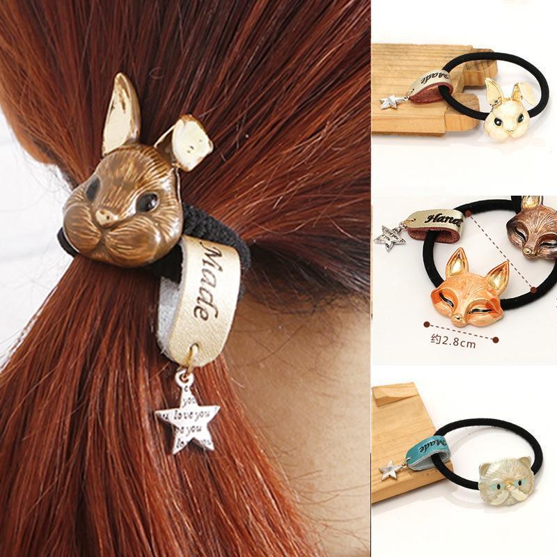 2018 Rabbit Fox Cat bows Rope Ring Elastic Hair Headdress Jewelry Hair Accessories For Women   headwear   headbands head decorations