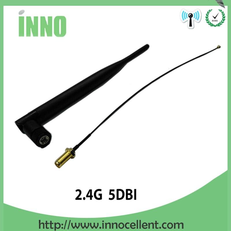 imágenes para 2 unids lote 2.4 GHz 5dBi WiFi Antena RP-SMA Hembra Inalámbrico Router + 21 cm PCI U. FL IPX a RP-SMA Macho Cable de la Coleta