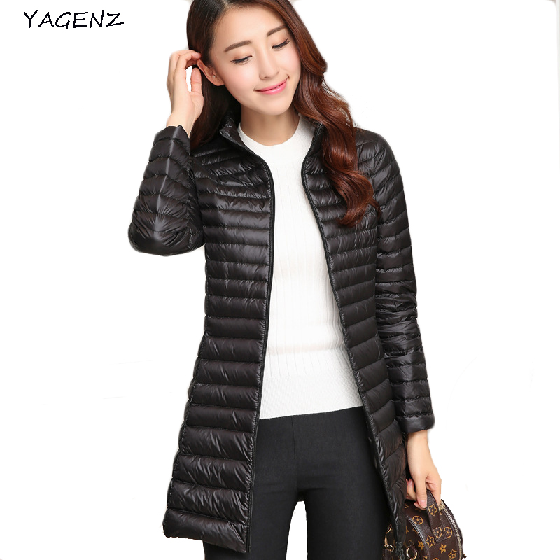 2017 Women Down jacket Autumn Winter Long Coats Slim Korean Stand Collar White Duck Down Zipper Long Coat S-3XL8 Colors YAGENZ66 s 2xl 2 colors 2015 new winter women down coat long slim turn down collar zipper jacket female belt pocket outwear zs308