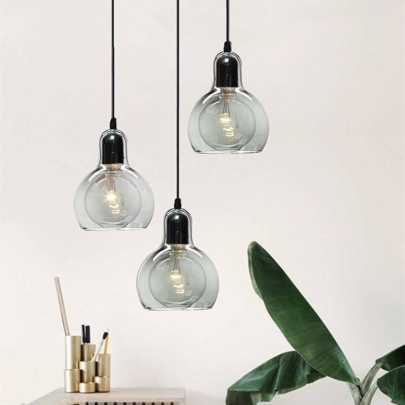Kitche Modern Pendant Lights Grey Glass Pendant Lighting ...