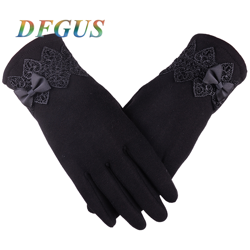 Fashion Women Winter <font><b>Gloves</b></font> Lace Bow Warm <font><b>Gloves</b></font> Women Touch Screen for <font><b>Smartphone</b></font> Mittens Female Button Guantes Ladies <font><b>Gloves</b></font>
