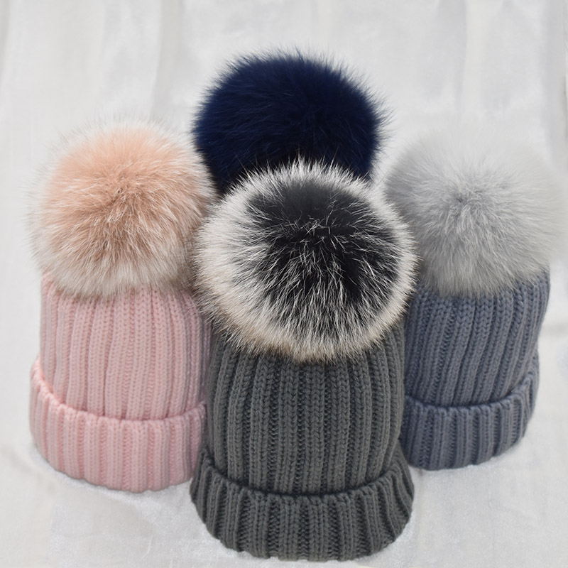 White Fur Pom Pom Female Winter Hats Mink Fox Fur Ball Hat Women Girl 'S Wool Hat Knitted Cotton   Beanies   Cap Brand Stocking Hat