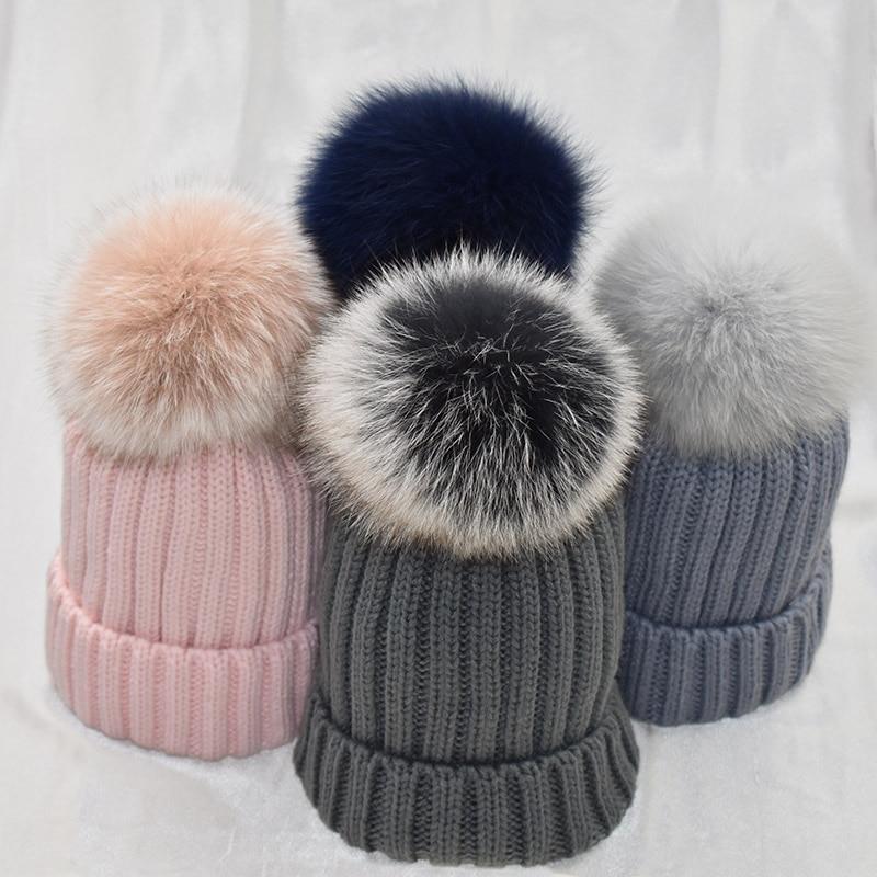 White Fur Pom Pom Female Winter Hats Mink Fox Fur Ball Hat Women Girl 'S Wool Hat Knitted Cotton Beanies Cap Brand Stocking Hat