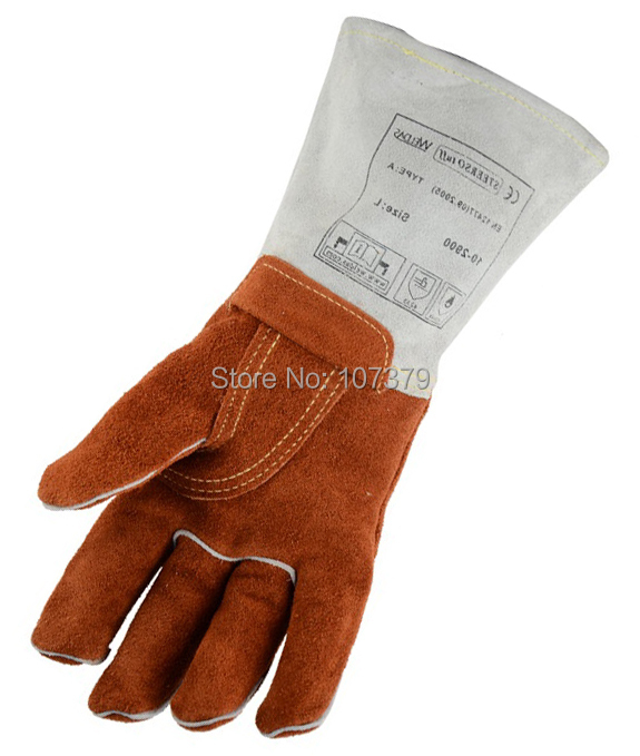 250 degree Celsius Heat resistant Split Cow Leather Work Gloves 482F Fahrenheit Welder BBQ Safety Glove Welding Glove tig finger glove combo welder tool glass fiber welding gloves heat shield guard heat protection equipment by weld monger