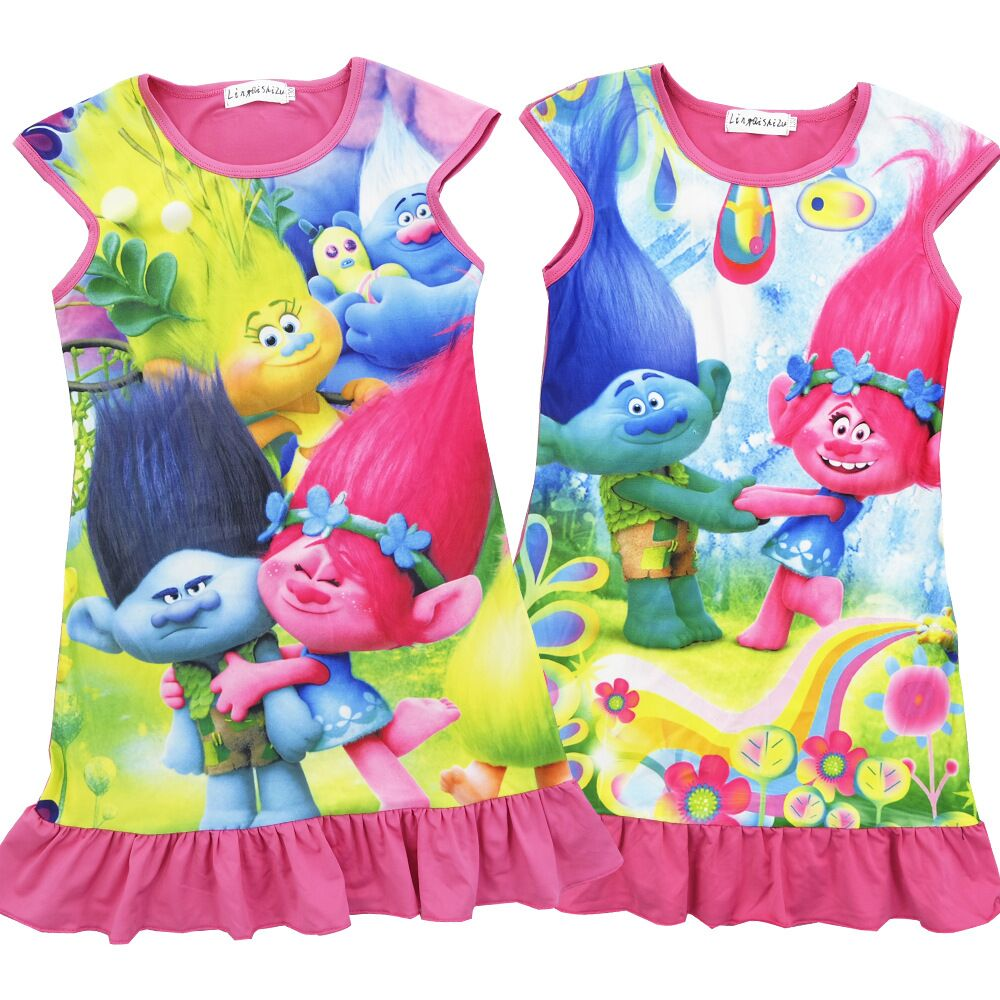 Beautiful crochet dresses for kids trendy - 2017 Trendy Trolls Printed Girl Dress Summer One Piece Dresses Kids Casual Clothes Jumper Children Clothing