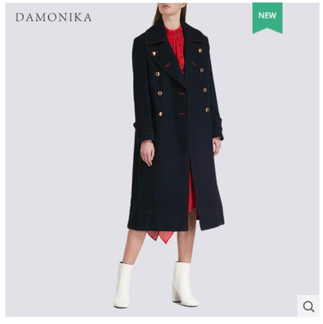 Europe station Hepburn wind woollen overcoat women new 2018 style joker cashmere winter coat women long