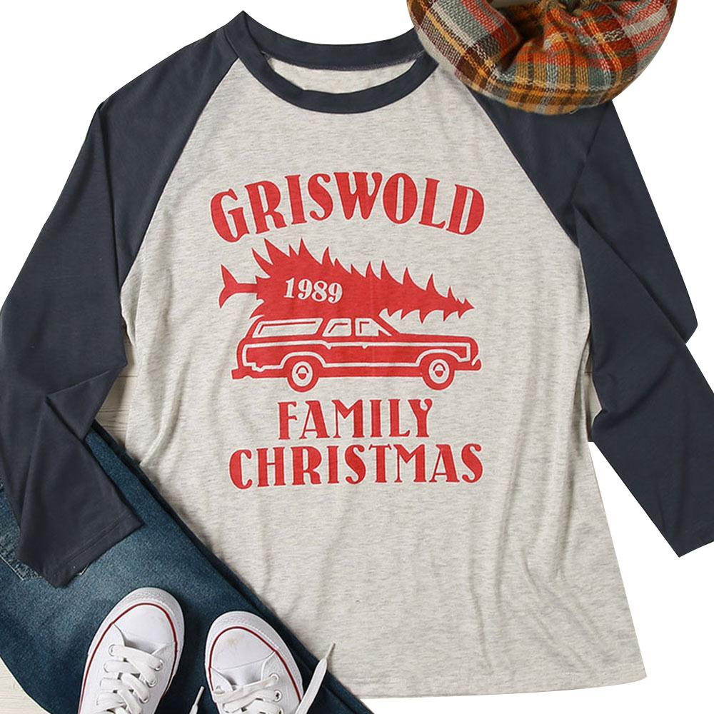 2018 Autumn Plus Size Griswold Baseball T Shirt Fashion Letters Print O-Neck Full Long Sleeve Christmas Tees Gray Splicing Top