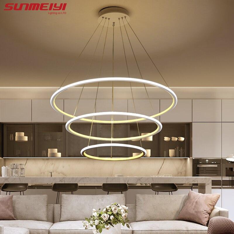€ 86.49 30% de réduction|LED moderne salon salle à manger suspension  luminaire suspendu anneau de LED éclairage lampe luminaire de techo  colgante-in ...