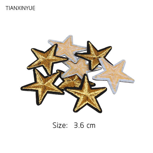 TIANXINYUE Brand 20PCs Star Embroidered Iron On Badges Patches For Clothing Cartoon Motif Applique Sticker For Clothes