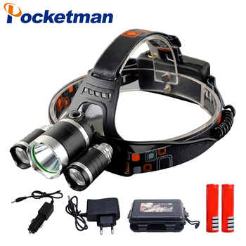3*T6 led Headlight rechargeable 18650 headlamp 10000LM light waterproof head lamp camping lantern panyue camping waterproof running head lamp light sensor headlamp xml t6 18650 usb rechargeable high power headlamp headlight