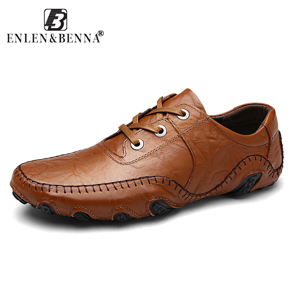New Casual Shoes Men Genuine Leather Flats Lace-Up Loafers Moccasin Oxford Fashion Men Shoe Summer Male Adult Luxury Brand Size new men genuine leather shoes luxury trainers summer male adult shoes casual flats solid spring black lace up shoes